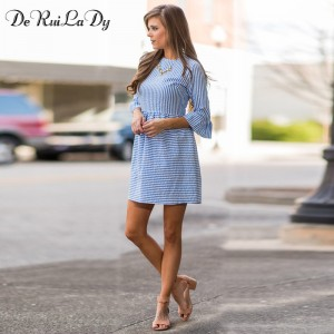 DeRuiLaDy Women Fashion Striped Dress Autumn Elegant Flare Sleeve Casual Sweet Mini Dresses vestidos de festa