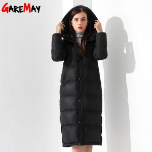 Down Jackets Women Coat Winter Warm Extra Long Jacket Female Coats Black Feather Parka Doudoune Outwear Hooded