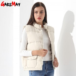 Down Vest Women Outwear Female Clothing Thicken Winter Warm White Jacket Causal Vest Coat Sleeveless Down Parka