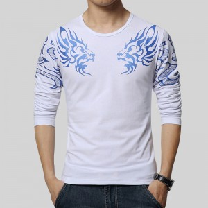 Dragon Printed T Shirts For Men High End Autumn Spring Tees Long Sleeved Plus Size T Shirts For Men