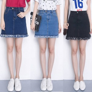 Elastic Waist Plus Size Denim Skirt High Waist Mini Skirt Summer Style New Arrival Thumbnail