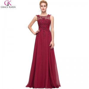 Elegant Long Evening Dresses Robe Chiffon Sleeveless Applique Open Back Red Formal Dress Engagement Party Gowns