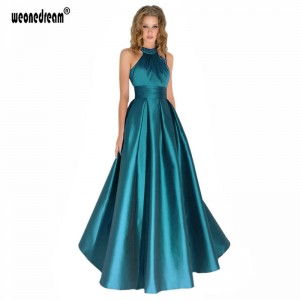 Elegant Long Evening Halter Pleated Formal Dresses Backless Party Prom Gown Satin Party Bridal Dress Women Thumbnail
