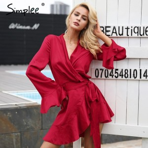 Elegant Red Dress v neck satin dress robe femme Irregularity ruffle sleeve autumn dress party Vintage winter dress