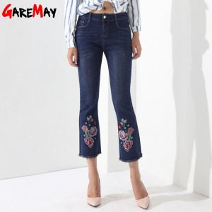 Embroidery Jeans Female Denim Pants Embroidered Flared Jeans For Women Flower Bell Bottom Tassel Trousers