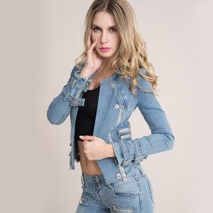 European Fashion Denim Jackets Hot Sexy Spring Autumn Women Denim Light Blue Zippers Coat Motorcycle Outerwear