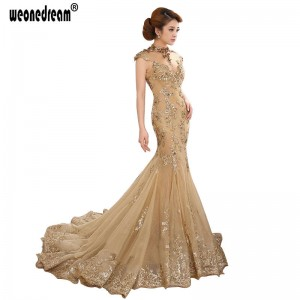 Exquisite Evening Dress Mermaid Gowns Luxury Gold High Neck Sheer Cap Sleeve Party Prom Bridal Dress Women Thumbnail