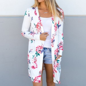 Fashion New Woman Jacket Coat Long Sleeve Floral Cardigans Jackets Loose Coat Outwear Women Clothing Outfit