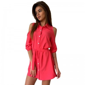 Fashion Shirt Dress Women Sexy Mini Dress Cold Shoulder Women Dress Bandage Turn Down Collar Slim Button Casual Dress