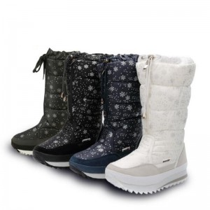 Fashion Women Boots Plush Warm Snow Boots Ladies Winter Ankle Boots Waterproof Zipper White Color Snow Flower Botas