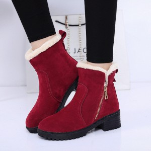 Fashion Women Winter Boots Female Snow Plush Ankle Boots Flock Zip Warm Zipper Boots Zapatos Mujer Botas