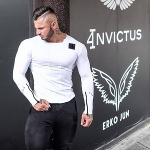 Fashionable Spring Slimfit Muscle Top Leisure Bodybuilding Long Sleeve Tees Men Thumbnail
