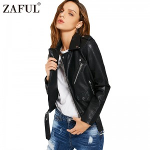 faux leather jackets women zipper pockets belted soft motorcycle jacket sexy punk coat ladies casual outwear tops