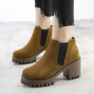 Female Ankle Boots High Quality Leather Shoes Pointed Toe Mid Heel Ankle Boots Short Spring Autumn Shoes For Women