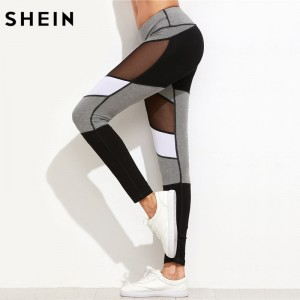 Fitness Workout Leggings Color Block Mesh Insert Heather Knit Leggings New Women Slim Legging Pencil Pants