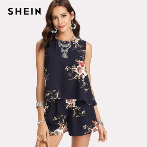 Floral Print Overlap Back Top Shorts Set Women Round Neck Sleeveless Button 2 Pieces Sets 2018 Summer Boho Style