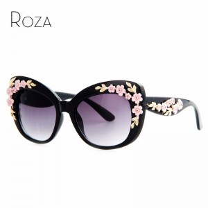 Flower Decoration Butterfly Sunglasses Cat Eye Retro Goggles For Women Latest UV400 Polarized Sun Shades