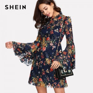 Flower Printed A Line Summer Dress For Women 2018 Arrival Spring Bell Sleeved Summer Dress For Ladies