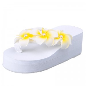 Flower Summer Wedges Platform Women Sandals Casual Beach Shoes Woman Slip On Fashion Flat Slides With 3 Colors