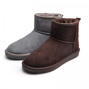 Fur Snow Men Boots Size 38 44 Fashion Suede Slip On Ankle Male Shoes Teenager Non Slip Rubber Sole Footwear