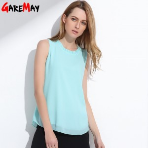 GAREMAY Shirt Women Summer Chiffon Tops White Sleeveless Blouses For Women Clothes Ruffle Elegant Vintage Feminine