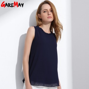 GAREMAY Women Chiffon Blouse Summer Sleeveless Camisa Candy Tops Femme Casual Fungus Collar Blusas Cheap Clothes