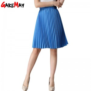 Garemay Women Pleated Midi Skirt Knee Length Chiffon Female Skirt Vintage Design Thumbnail