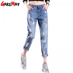 Garemay Women Ripped Jeans Summer Thin Casual For Women Destroyed Pants Rough Punk Style Thumbnail
