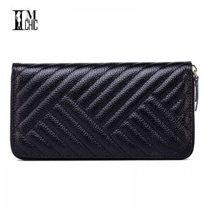 Genuine Leather Women Clutches Wallets Thread Pattern Classic Female Cowhide Clutch Money Wallet For Women Thumbnail