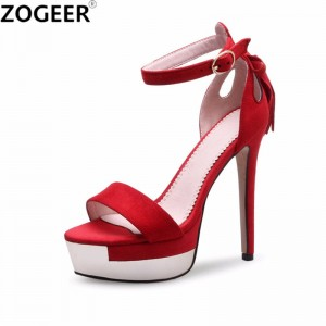 Gladiator Sandals Women Brand Women Sandals Party Wear Mujer Fashion Black Red High Heels Party Wedding Shoes