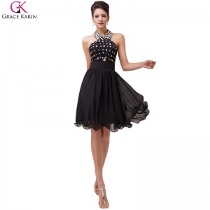 Grace Karin Evening Dresses Halter Backless Beading Chiffon Black Formal Dress Elegant Dinner Party Women Dresses
