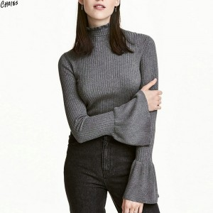 Gray High Neck Jumper Flared Long Sleeve Knitted Sweater Women Autumn Winter Silm Skinny Office Ladies Simple Pullover