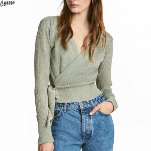Green V Neck Wrap Front Belt Side Long Sleeve Knitted Sweater Women Autumn Ribbed Trims Casual Fashion Cardigan