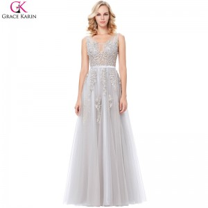Grey Prom Dresses Long Elegant Formal Gowns V Neck Tulle Lace Applique See Through Navy Blue Wedding Party Dresses