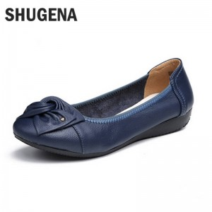 Handmade Genuine Leather Ballet Flat Heel Casual Shoes Driving For Women Thumbnail