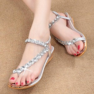 Hee Grand Summer Sandals Rhinestone Flat Wedges Flip Flops Comfortable Women Thumbnail