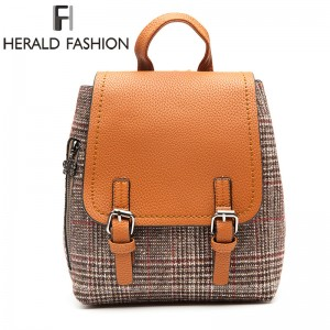 Herald Fashion Female Backpacks Woolen Bags For Teenage Girls Female School Shoulder Bags Traveling Backpacks Mochila