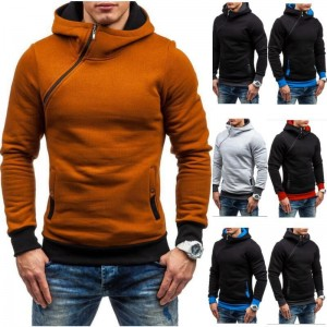 HEYKESON Hoodie Oblique Zipper Solid Color Hoodies Men Fashion Tracksuit Male Sweatshirt Hoody Mens Purpose Tour