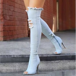 High Heel Denim Boots For Ladies New Knee High Peep Toe Elastic Sexy Thigh High Heels Female Winter Boots