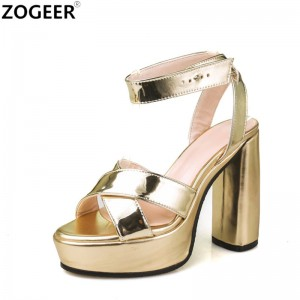 High Heels Sandals Sexy Nightclub European Women Peep Toe Shoes Buckle Strap Sandal Platform Shoes Gold Silver