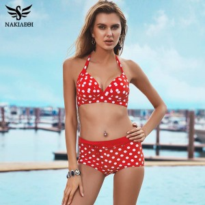 High Waisted Two Piece Bikini Swimsuit For Women New Push Up Padded Dot Swimwear Newest Summer Brazilian Style