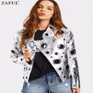 Hollow Out Ring Embellished Shiny Jacket Women Open Front Fashion Autumn Coat Streetwear High Quality Casacos Femininos