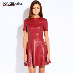 Hot Sale Women Fashion Leather Dress O Neck Casual Mini Dress Short Sleeve Sexy Pu Leather Thumbnail