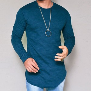Hot Selling Autumn New Mens Long Sleeved T Shirt O Neck Slim Solid Color T shirt Mens Casual T Shirt Tops Parcel Post