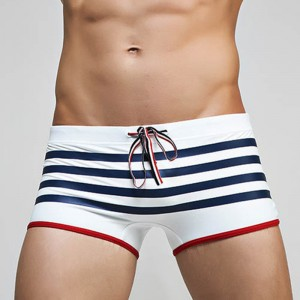 Hot Striped Sexy Men Swimwear Brand Mens Swimsuits Surf Board Beach Wear Man Swimming Trunks Boxer Plus Size Shorts