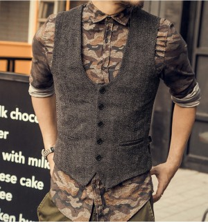 New England Vintage Mens woolen tweed casual suit vest Slim fit Vest Wedding Waistcoat Autumn Winter Coats