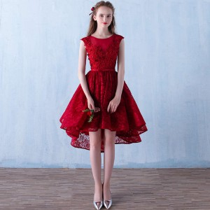 Fashion Bride Short Sexy Bridesmaid Red Dress V Neck Formal Marriage Prom Party Dress New Arrival For Women