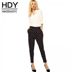 HYD Black Casual Slim Pencil Pants Sexy White Dot Printed Street Style For Women Thumbnail