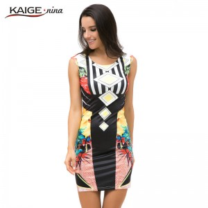 Kaige Nina Hot Fashion Prom Cocktail Party Dress Bodycon Tropical Floral Design Women Thumbnail
