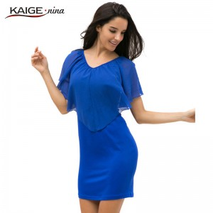 Kaige Nina Summer Casual Half Sleeve Mini Skirt Off Shoulder Pure Color For Women Thumbnail